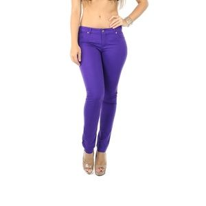 Pants - Purple Cotton Twill Skinny Pants